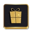 Gold Glitter Shiny Gift Box Icon Button with vector image vector image