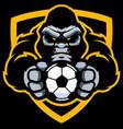 gorilla football soccer mascot vector image