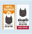 happy halloween invitation design with cat vector image vector image