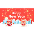 happy new year sale banner with cute rats or mice vector image vector image