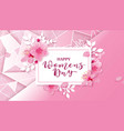 happy women s day 8 march with flowers vector image