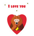 i love you greeting card of cute bear eating vector image