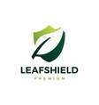 leaf shield logo icon vector image vector image