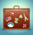 Leather Suitcase with Travel Sticker vector image vector image