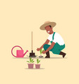male farmer planting young seedlings plants vector image