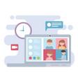 meeting online laptop people working clock speech vector image