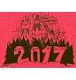 Merry Christmas and Happy New Year 2017 banner vector image vector image