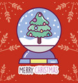 merry christmas celebration decorative tree vector image vector image