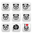 Panda bear buttons set - happy sad angry isolate vector image