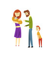 parents with their two children young mother vector image