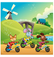 Pets are going for a ride in the countryside vector image
