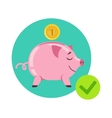 Piggy Bank And Coin As Symbol Of Personal Savings vector image vector image
