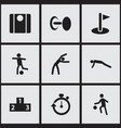 set of 9 editable exercise icons includes symbols vector image vector image