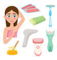 set of flat style hair removal depilation tools vector image vector image