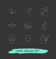 set of glamour icons line style symbols with lips vector image