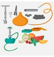 Set of hookah icons Waterpipes charcoal and vector image