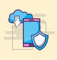 smartphone clod storage download shield vector image
