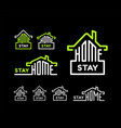stay at home set on black background vector image vector image
