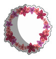 sticker colorful circular border with flowers vector image vector image