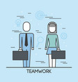 teamwork man and woman with suit and briefcase vector image