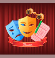 theater tickets and masks comedy and drama vector image vector image