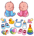 Two toddler with baby items on a white bac vector image vector image