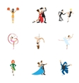 types dances icons set cartoon style vector image vector image