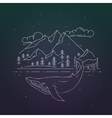 whale and mountains landscape on dark background vector image vector image