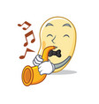 with trumpet soy bean mascot cartoon vector image vector image