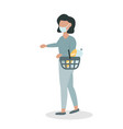 woman in a face mask with a basket vector image vector image