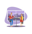 young woman and man in fashion clothing standing vector image