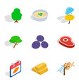 olericulture icons set isometric style vector image