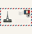 an envelope with a postage stamp with eiffel tower vector image