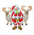 santa claus and reindeers vector image