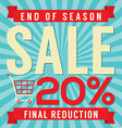 20 Percent End of Season Sale vector image vector image