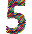 3d font number 5 vector image vector image