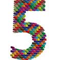 3d font number 5 vector image