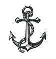 anchor with rope symbol nautical concept sketch vector image