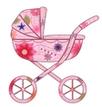 Baby carriage for girl 2 vector image vector image