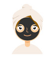 Black clay mask on girl face color flat icon for