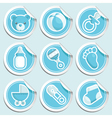 blue baby shower stickers vector image vector image
