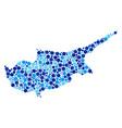 blue circles cyprus island map mosaic vector image vector image