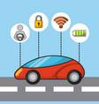 car autonomous driverless security sensor and vector image