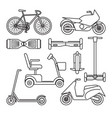 collection bike and scooter icons vector image
