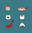 collection of catoon sushi and sashimi set vector image