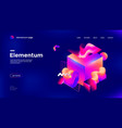 colorful 3d geometric banner with gradient shape vector image vector image