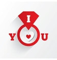 Engagement ring I love you sign Red paper heart vector image