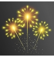 Fireworks Yellow glowing light glitter effect vector image vector image