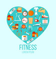fitness colorful flat poster vector image vector image