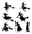 halloweens witches silhouettes set vector image